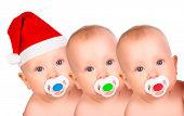 stock photo of baby face  - Christmas funny babies - JPG