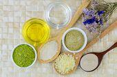 Australian Clay Powder, Organic Coconut oil - cold pressed Jojoba Golden Oil, Ground green tea leave poster