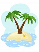picture of tree leaves  - tropical island with two palm trees among the sea - JPG