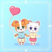 Sweet Little Cute Kawaii Anime Cartoon Puppy Cat Kitten Dog Boy And Girl With Pink Balloon In The Sh poster