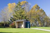 pic of lightning-rod  - Golf course storm shelter and rest area with a portable toilet - JPG