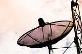 Dirty Satellite Plate With White Clouds Background poster