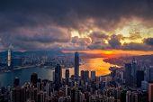 Hong Kong City Skyline At Sunrise. Hongkong Skyscraper View From The Peak poster