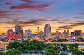 San Antonio, Texas, USA downtown skyline. poster