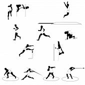 stock photo of pole-vault  - Set of 12 athletic silhouettes all track and field disciplines isolated on white - JPG