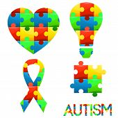World Autism Awareness Day.puzzle Symbol Of Autism In Different Colors. Medical,healthcare Related D poster