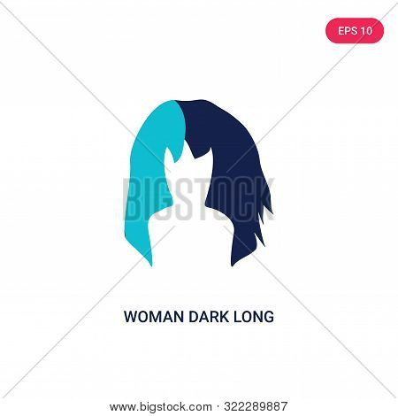 poster of woman dark long hair icon in two color design style.