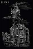 Vector Hand Drawing Illustration Of Old Town Hall In Prague. Landmark Of Prague, Czech Republic. Vec poster