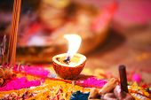 Diwali Deepak Decoration With Rangoli. Diwali Deepak In Made Of Coconut. Diwali Deepak Decoration Ro poster