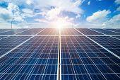 Solar Panel On Blue Sky Background, Alternative Energy Concept,clean Energy,green Energy. poster