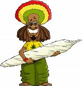stock photo of rastaman  - Rastaman with a large marijuana cigarette vector - JPG