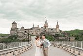 Stylish Bride And Groom. Just Merried. Wedding Couple.close Up. Happy Bride And Groom On Their Weddi poster