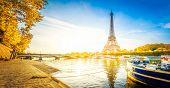 Paris Eiffel Tower Reflecting In River Seine At Sunrise In Paris, France. Web Banner Format. Eiffel  poster