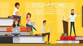 Study Time Concept Flat Cartoon Banner Vector Illustration. Students On Book Piles. Happy Young Peop poster