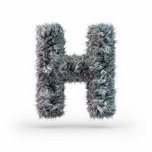 Uppercase Fluffy And Furry Gray Font. Letter H. 3d Rendering poster