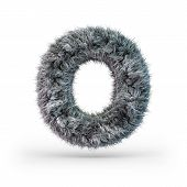 Uppercase Fluffy And Furry Gray Font. Letter O. 3d Rendering poster