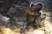 Asteroid Falling On Earth During Dinosaurs Extinction Day - 3d Rendering poster