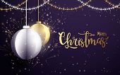 Merry Christmas And Happy New Year Banner.white And Golden Christmas Balls With Xmas Sparkling Light poster