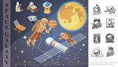 Isometric Space And Galaxy Concept With Astronauts In Outer Space Planets Stars Spaceship Ufo Planet poster