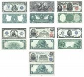stock photo of one hundred dollar bill  - Set of old and rare United States 5 dollar banknotes - JPG
