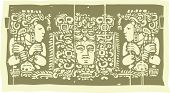 picture of triptych  - Mayan woodblock style triptych with two priests - JPG