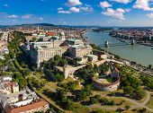 Drone photo of buda castle and danube with chainbridge Budapest, Hungary poster