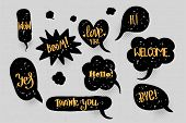 Comic Text Speech Bubble Pop Art Style Halftone Background. Set Black Cloud Talk Speech Bubble. Isol poster