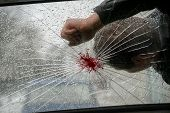 Dead Man With Blood On The Broken Windshield Of The Car. A Car Hit A Man. poster