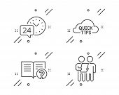 Help, 24h Service And Quick Tips Line Icons Set. Survey Sign. Documentation, Call Support, Helpful T poster