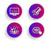 Anti-dandruff Flakes, Credit Card And Music Making Icons Simple Set. Halftone Dots Button. Quick Tip poster