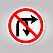 No Turn Right Or U-turn Right Traffic Road Sign Isolate On White Background,vector Illustration poster