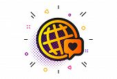 Friendship Love Sign. Halftone Circles Pattern. Friends World Icon. World Brand Ambassador Symbol. C poster