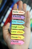 Positive Words In Hand. Todays Goals List. Morning Inspirational Words - Smile Often. Think Positive poster