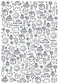 Hand Draw Kids Doodle Background. Objects From A Childs Life. poster