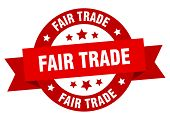 Fair Trade Ribbon. Fair Trade Round Red Sign. Fair Trade poster