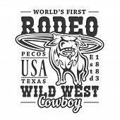 Cowboy Rodeo, American Western Longhorn Bull T-sirt Print. Vector Wild West Texas Rider Sport, T-shi poster