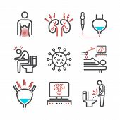 Cystitis Line Icons. Symptoms, Treatment. Vector Signs For Web Graphics. poster