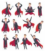 Businessman Superheroes. Male Characters In Action Poses Of Superheroes Business Person Vector Carto poster