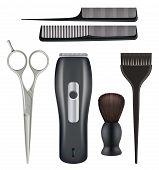 Barbershop Realistic. Barber Tools Hairdresser Beauty Fashion Salon Tools Comb Scissors Blade Vector poster