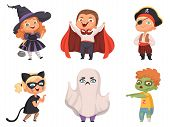 Halloween Kids. Party Children Scary Characters Costume Witch Vampire Vector Cartoon Halloween Colle poster