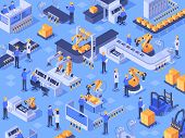 Isometric Smart Industrial Factory. Automated Production Line, Automation Industry And Factories Eng poster