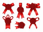 Wax Seal With Ribbon Set. Candle Stamp Objects With Red Ribbons Vector Illustration, Stamping Marks  poster