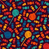 Seamless Pattern With Sweets. Halloween Holiday Background. Trick Or Treat Wallpaper. Repeated Candy poster