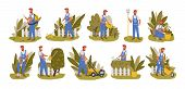 Gardener Working Flat Vector Illustrations Set. Male Handyman Character Mowing Grass, Trimming Trees poster