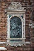 King John Iii Sobieski Bas Relief On St. Mary Church Outdoor Wall In Krakow, Poland. Sign: Two Hundr poster