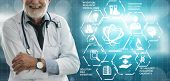 Medical Healthcare Research And Development Concept. Doctor In Hospital Lab With Science Health Rese poster