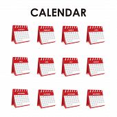 Set Of Calendar Vector Isolated On White Background. Vector Annual Calendar. Calendar Vector Trendy  poster