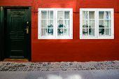 Exterior Architecture. Facade Of Building In Copenhagen, Denmark. poster