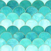 Mermaid Fish Scale Wave Japanese Magic Seamless Pattern. Watercolor Hand Drawn Teal Colored Backgrou poster