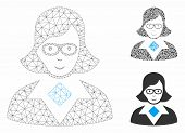 Mesh Teacher Lady Model With Triangle Mosaic Icon. Wire Frame Triangular Mesh Of Teacher Lady. Vecto poster